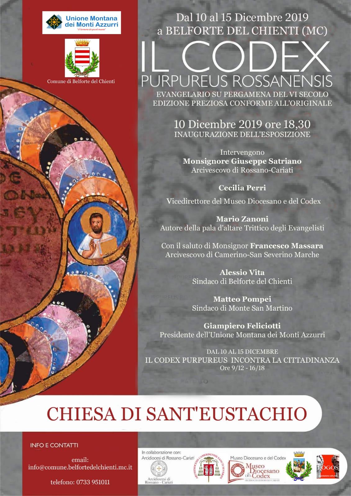 Il Codex Purpureus Rossanensis presentato nella cittadina marchigiana di Belforte del Chienti (MC)