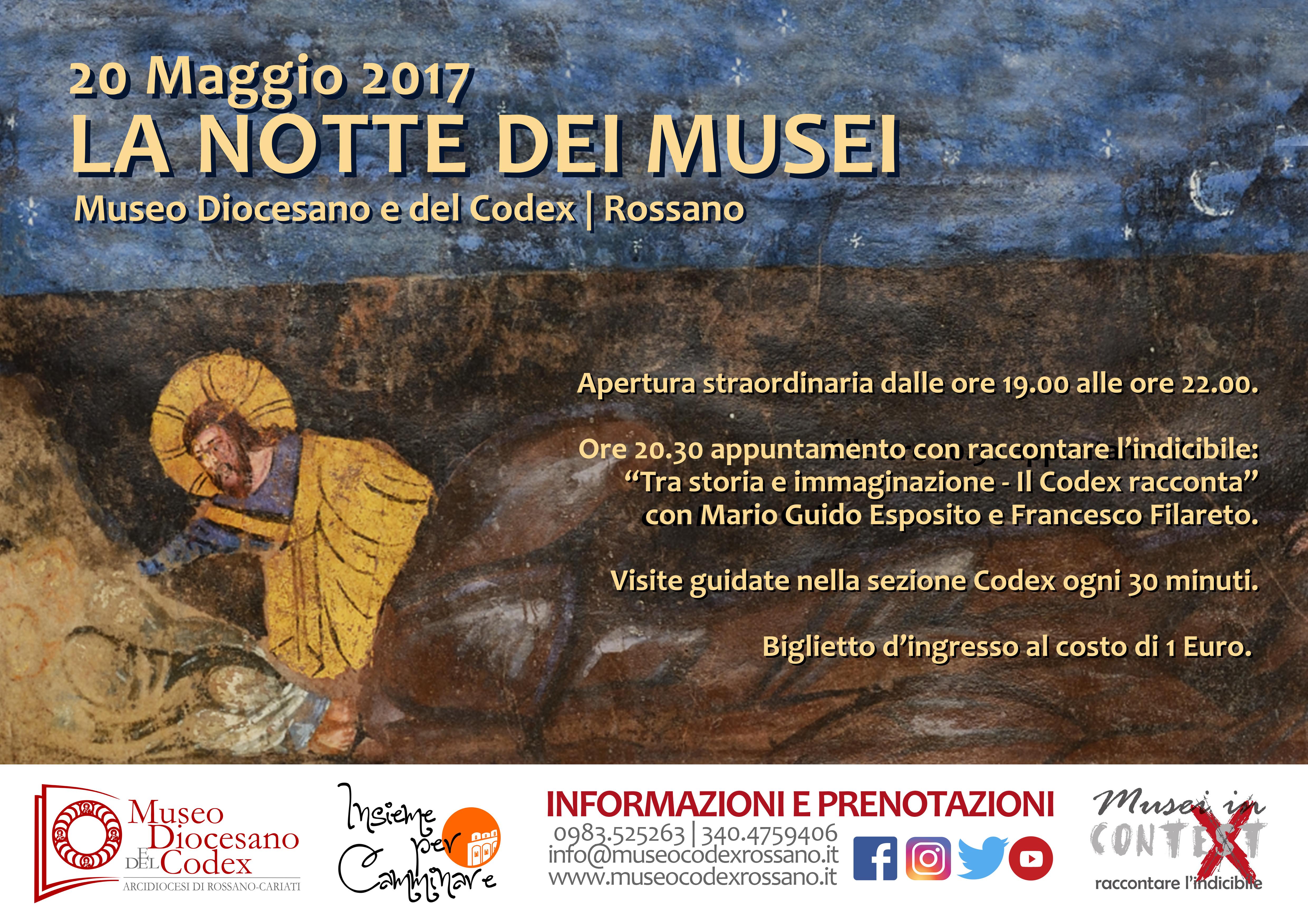 Notte dei Musei 2017 - Il Museo Diocesano e del Codex racconta l'indicibile.